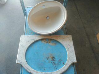 lavabo de encastrar y marmol de