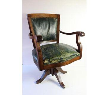 Antiguo sillón de despacho años 20 madera y cuero