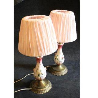 Antigua pareja de lámparas de porcelana