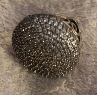 Sortija anillo plata y circonitas