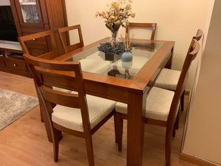Mesa comedor cerezo + 6 sillas