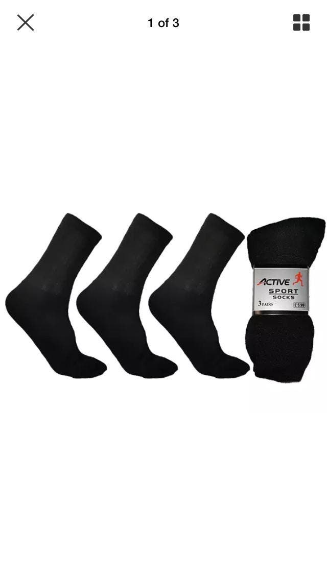 mens socks 12 pack size 6-11 black