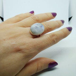 Anillo de Plata y Piedra Luna blanca