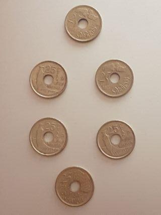 lote 6 monedas de 25 pesetas