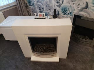 white Fireplace with Fire