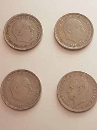lote monedas de 5 pesetas Franco y Juan Carlos