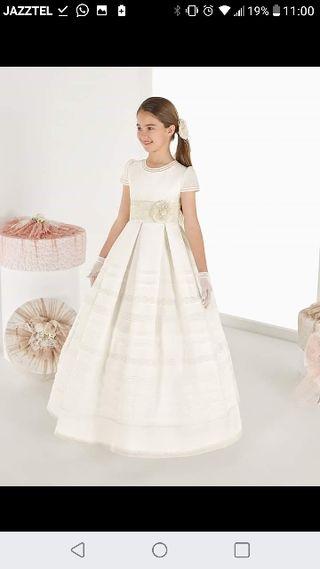 092ffe20b9 Vestido comunión Rosa Clara de segunda mano en WALLAPOP