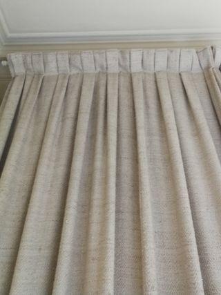 2 cortinas lino natural + 1 fundas mesas