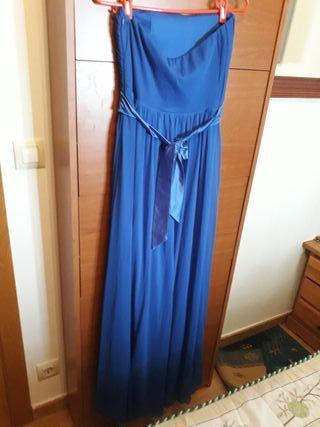vestido Azul sin tirantes muy bonito