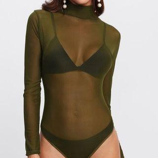 body transparente verde militar