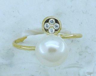 Anillo oro, perla y circonitas