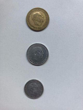 Lote monedas: 1 peseta, 50 ct, 10ct