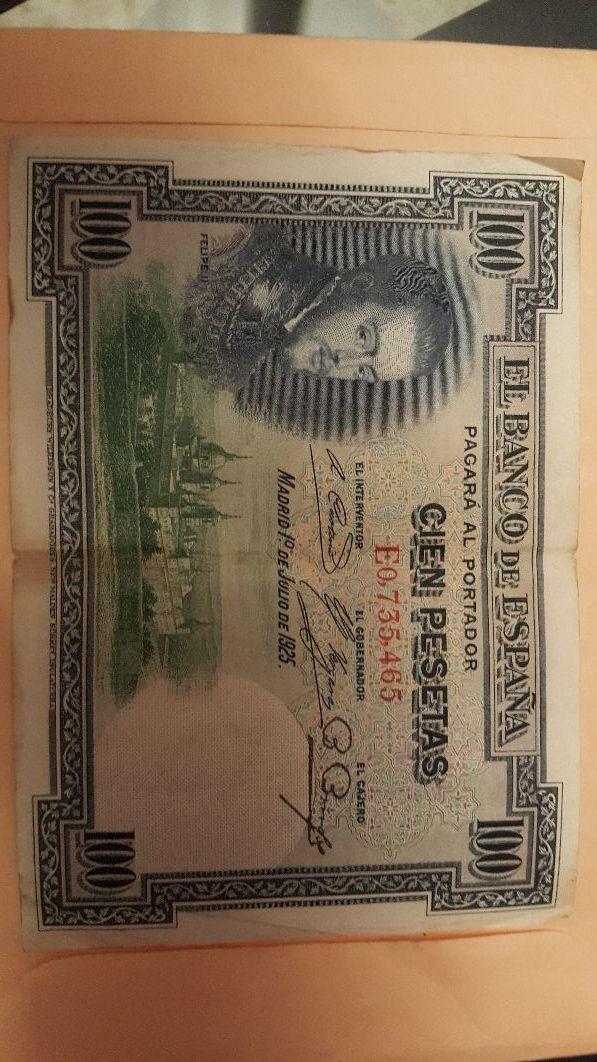 billete de 100 pesetas año 1925