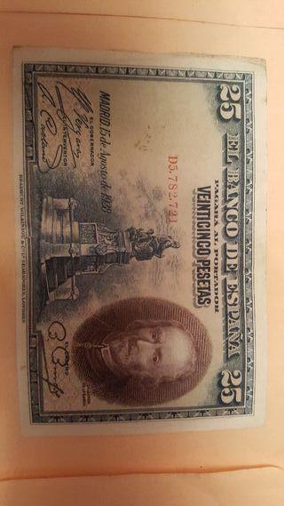 billete de 25 pesetas año 1928