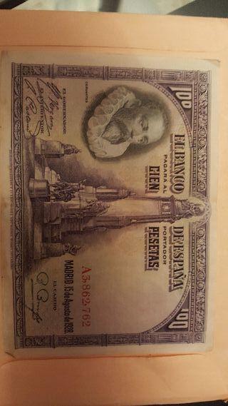 billete de 100 pesetas año 1928