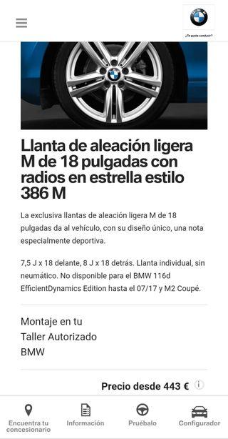 "llantas BMW 18"" modelo 386M"