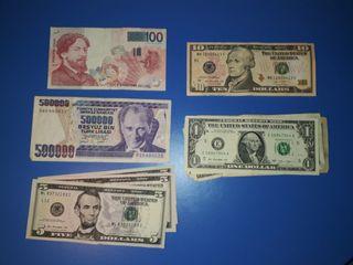 Billetes Turquía, Bélgica, EEUU