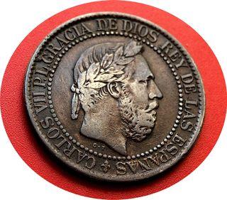 CARLOS VII - 10 extraordinarios CENTIMOS de 1875