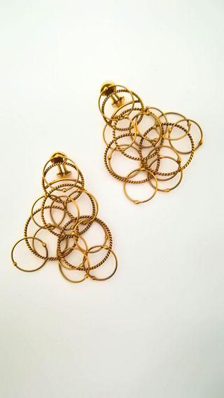 Pendientes Diseño Estilo Hawái Vintage Oro 18k