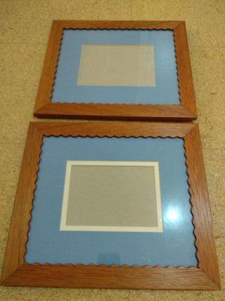 Cuadros de madera con paspartu (2 unidades)