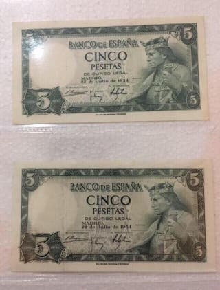 2 billetes de 5 pesetas SC de 1954.