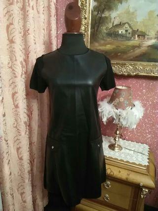 vestido NUEVO Pichi peto zara talla M cuero charol