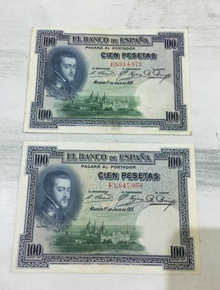 Dos billetes SC de 100 pesetas de 1.925