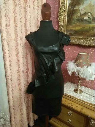 vestido talla S cuero piel polipiel charol látex n
