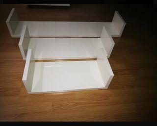 3 baldas en blanco brillo