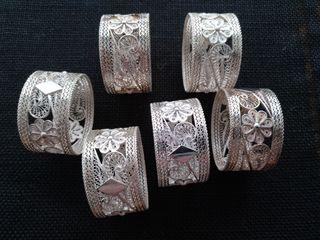 6 servilleteros de plata