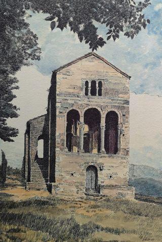 Cuadro lámina grabado Santa Maria Naranco Oviedo