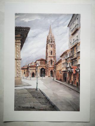 Lamina Grabado Catedral de Oviedo