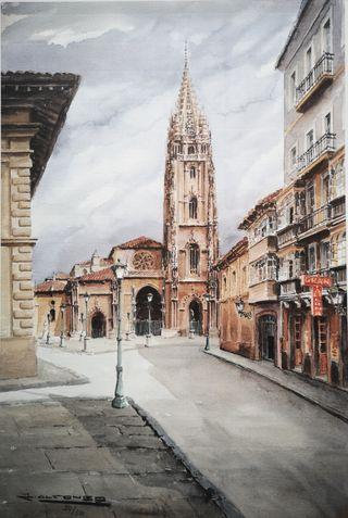 Cuadro lámina Catedral de Oviedo Plaza Porlier