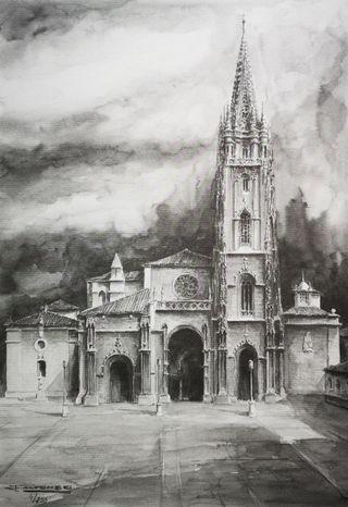 Cuadro lámina grabado Catedral de Oviedo