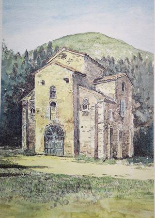 Cuadro lámina grabado San Miguel de Lillo Oviedo