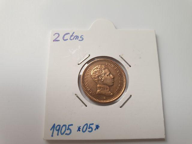 Moneda de 2 céntimos de 1905