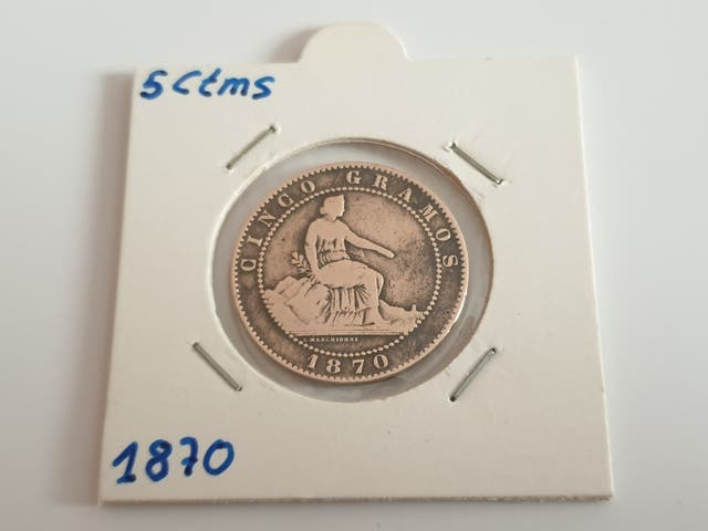 Moneda de cinco céntimos de 1870