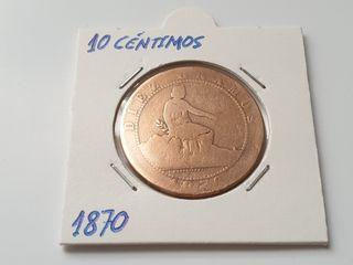 Moneda de diez céntimos de 1870
