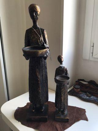 Figuras madera con acabado bronce