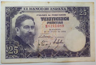 Billete de 25 pesetas de 1954
