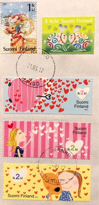 Lote de 5 sellos de Finlandia sobre fragmento
