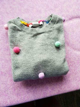 Jersey niña gris punto finito con bolitas de color