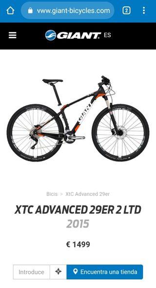 "Bicicleta btt mtb Giant carbono 29"""