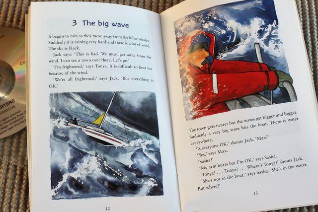 """Libro en inglés y CD de nivel inicial """"Orca""""."""