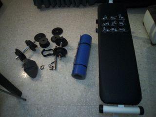 Pack gym: mancuernas, banca y esterilla.