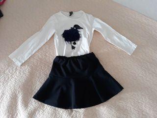 camiseta + falda