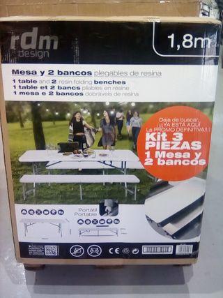 mesa + 2 bancos 180cm
