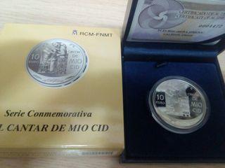 Moneda plata 10€ (Cantar de mío Cid)