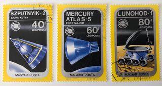 Lote de 3 sellos CTO de Hungría- espacio