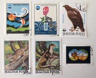 Lote de 6 sellos CTO de Hungría- fauna